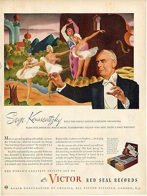 1945 Victor Records Serge Koussevitzky Conducts Tchaikovsky ballet PRINT AD