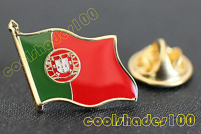Portugal National Flag Waving Metal Lapel Pin Badge