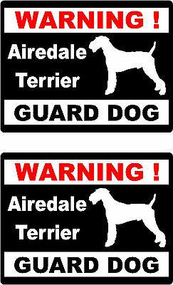 2 warning Airedale Terrier guard dog home window bumper vinyl decals stickers