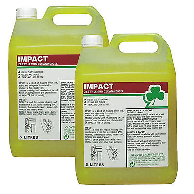 Clover Impact Lemon Floor Gel Low Foam Cleaner Heavy Duty Industry 2 x 5Ltrs