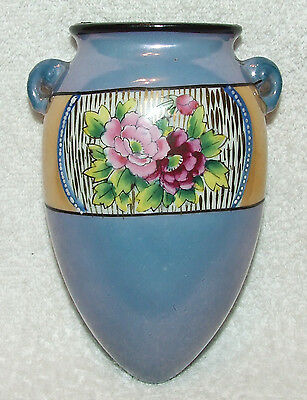 ANTIQUE 1920'S NIPPON FLOWER WALL POCKET VASE LUSTERWARE HAND PAINTED PINK ROSES