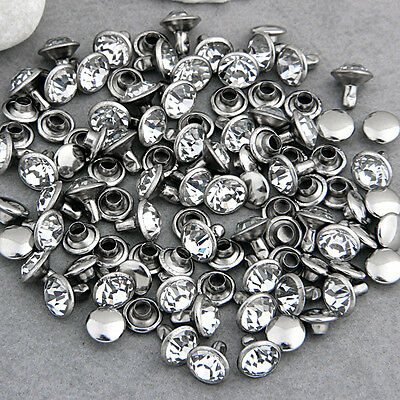 50 Rhinestone 8mm Leathercraft DIY Round Studs Spots Spikes Rivets Punk