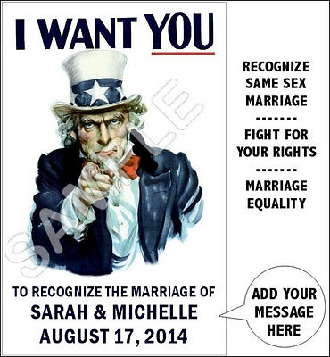 Personalized Gay Marriage Uncle Sam Poster 11X17  LGBT Rights I Want You Pride