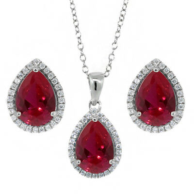6.00 Ct 10x7mm Created Ruby Pear Shape Pendant Earrings 925 Silver Set