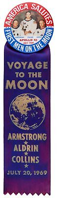 """""""america Salutes/first Men On The Moon"""" With Scarce 1969 Ribbon."""