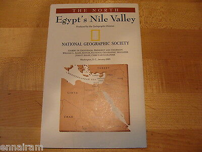 National Geographic Society Map 1995 The North Egypt's Nile Valley