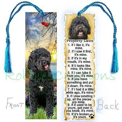 Black PORTUGUESE WATER DOG Large BOOKMARK w/ Tassel Property RULES Book Art CARD