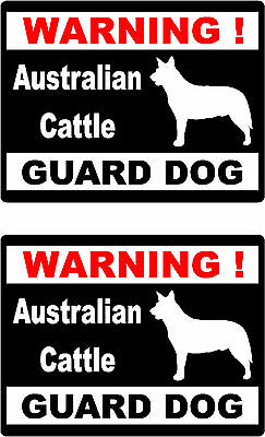 2 warning Australian Cattle guard dog car home window vinyl decals stickers