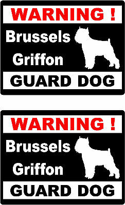 2 warning Brussels Griffon guard dog bumper home window vinyl decals stickers