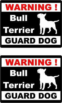 2 warning Bull Terrier guard dog car bumper home window vinyl decals stickers