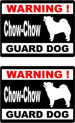 2 warning Chow-Chow guard dog car bumper home window vinyl decals stickers
