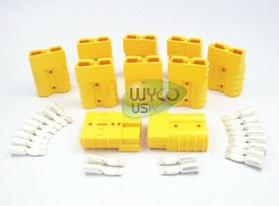 10-Pack, Anderson Connectors+ 10/12 Gauge Contacts, Sb50A 600V, Small Yellow
