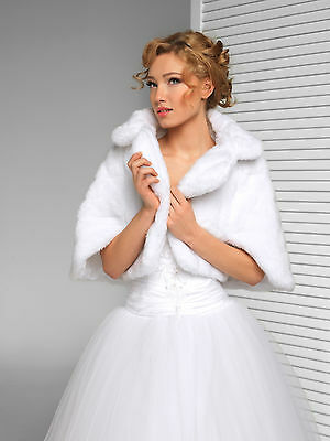 Wedding Faux Fur Ivory Or White Bridal Prom Shawl Wrap Jacket Shrug Bolero Cape
