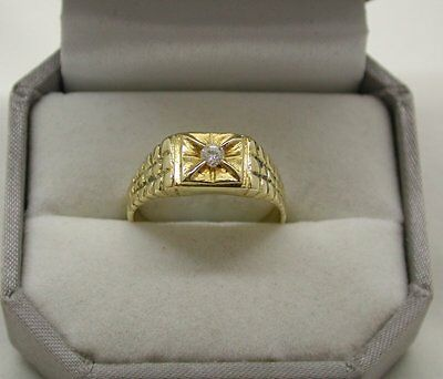 Vintage Gents 14ct Gold And Diamond Solitaire Signet Ring