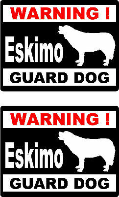 2 warning Eskimo guard dog car bumper home window vinyl decals stickers