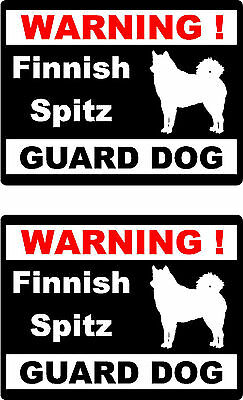 2 warning Finnish Spitz guard dog car bumper home window vinyl decals stickers