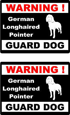 2 warning German Longhaired Pointer guard dog home window vinyl decals stickers