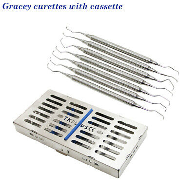 Dental Gracey curettes Set of 5  with Free Stainless Cassette CE Top Quality CE