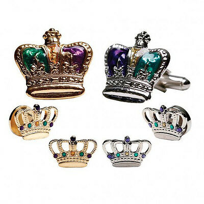 Mardi Gras Colored Kings Crown Tuxedo Cufflinks and Studs Silver or Gold