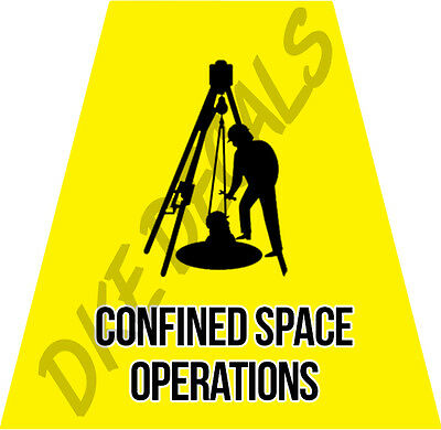 Confined Space Operations Helmet Tets Tetrahedrons Sticker Yellow Reflective