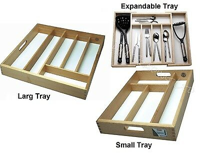 Wooden Small Large Organiser Cutlery Tray Drawer Rack Utensil Storage Holder