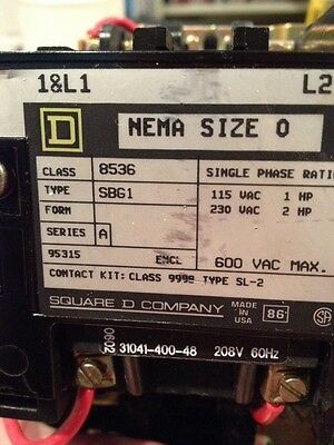 Square D Magnetic Starter NEMA Size 0 Series A