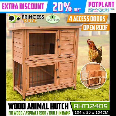 2 Storey Rabbit Guinea Pig Hutch Wood Cage W/Metal Trays Chicken Hen Ferret Coop