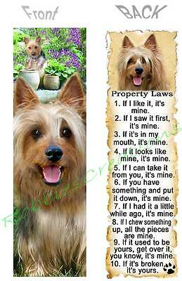 SILKY TERRIER BOOKMARK DOG RULES Property LAW Book Card Ornament Figurine Yorkie