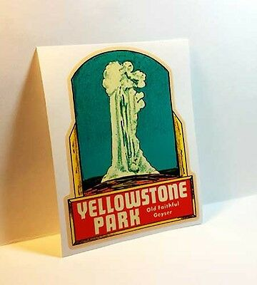 YELLOWSTONE, OLD FAITHFUL Vintage Style Travel Decal, Vinyl STICKER, Label