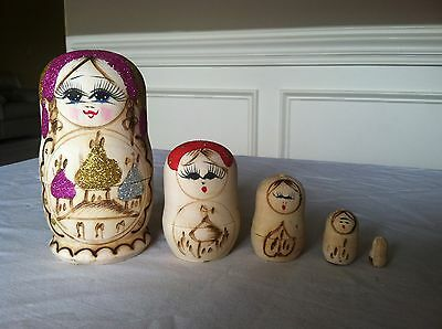 russian nesting dolls Set Of 5 Hand made 5 inchs tall wood color US Seller