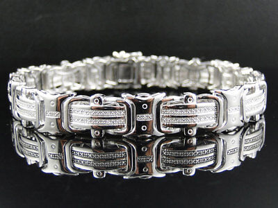 Mens Pave 12 MM White Gold Finish Round Cut Genuine Diamond Bracelet .50Ct 8.75""