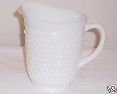 White Milk Glass Hobnail PITCHER Vintage