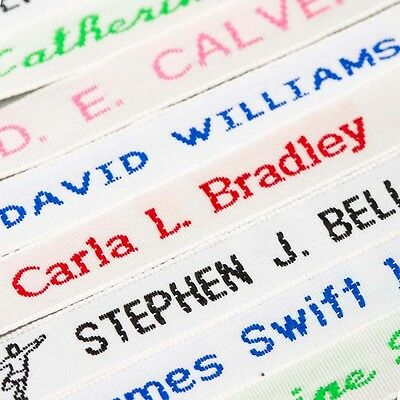 72 Woven Name Tapes/Labels for School Uniform plus 12 Printed Iron-on Tags