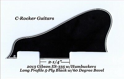 ES-335 LONG Custom 2013 Pickguard 5-Ply Black W/60 Deg for Gibson Project NEW