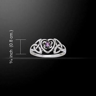 Silver Celtic Heart Birthstone Ring TRI817