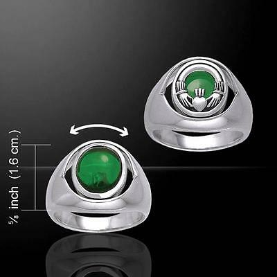 Irish Claddagh Silver Flip Ring with Emerald Glass TRI154