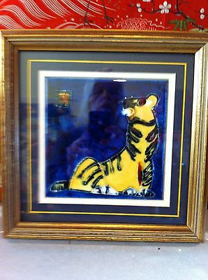 amazing Asian Hand Painted Tiger Tile framed and matted artist signed