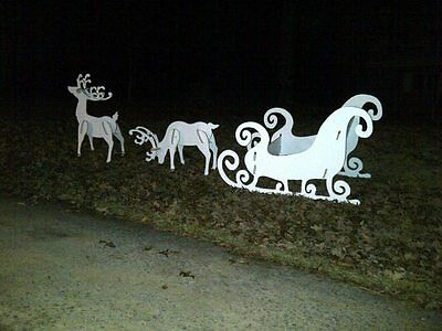 Yard Art Reindeer and Sleigh Set