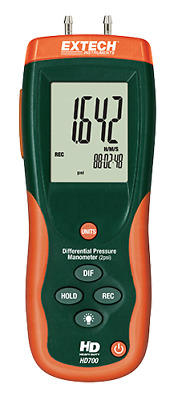 "Extech HD700 Differential Pressure Manometer, ±2 PSI/ 55.4"" H2O"