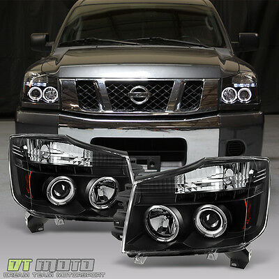 Black Fit 04-15 Titan Armada Dual Halo Projector Led Headlight Lights Left+Right