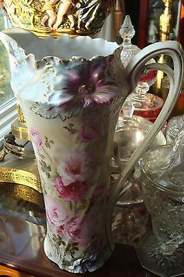"""RS PRUSSIA (CARNATION MOLD?) LARGE 13"""" tall TANKARD PITCHER with FLOWERS"""