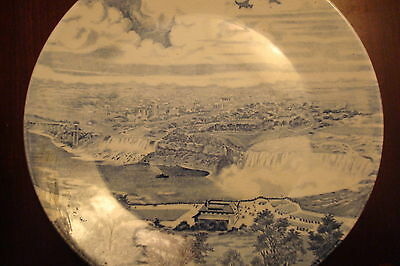 Vintage collector plate - Niagara Falls- by J & G Meakin, England, blue 1962.
