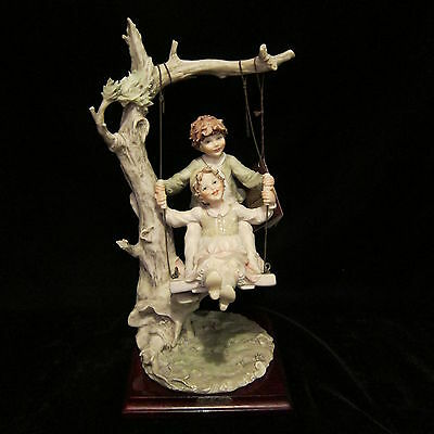 10%OFF Vintage 14.25'  Capodimonte B. Merli Porcelain Figurine Boy Girl on Swing
