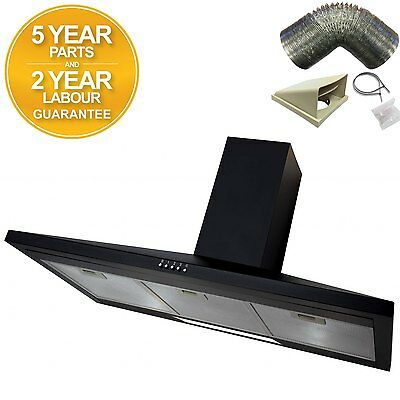 SIA CH91BL 90cm Chimney Cooker Hood Extractor Fan in Black + 1m Ducting Kit