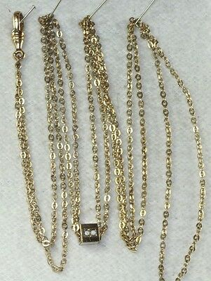 Victoran Antique 50 Inch Gold Filled Ladies Watch Chain And 14K Gold Opal Slide
