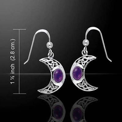 Celtic Knotwork Silver Crescent Moon Earrings