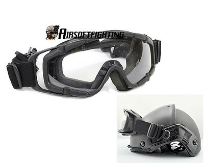 Military Tactical 2pcs of Lens Goggle for Helmet with Side Rails Black A