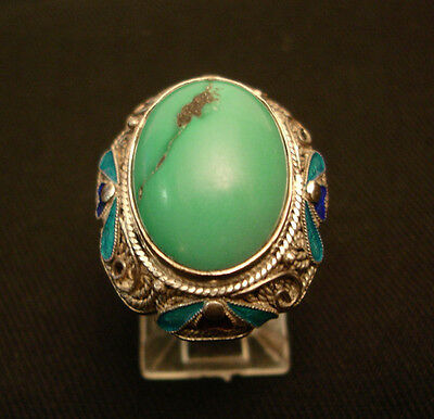 Antique Chinese Massive Deco Silver Turquoise  Enamel Ring