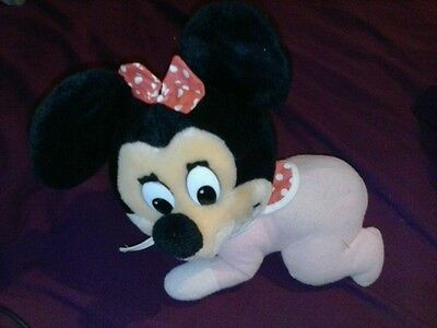 cool Disneyland  Vintage 1980's  Plush Baby Minnie Mouse Crawling RARE FIND!!!