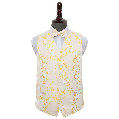 New Dqt Scroll Mens Wedding Waistcoat & Bow Tie Set - Gold